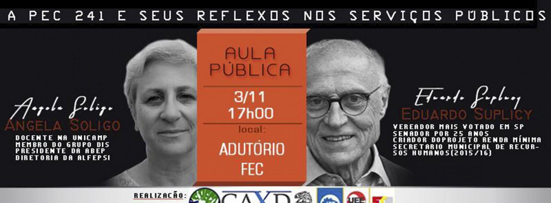 Aula Pública: PEC 241 e seus reflexos nos serviços públicos