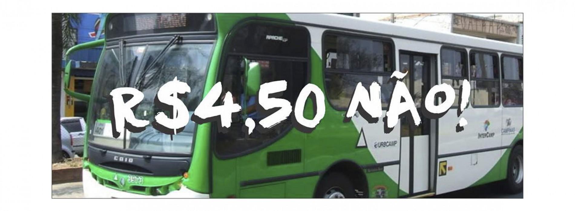 """Ato contra aumento da passagem de ônibus: """"R$ 4,50 Não Dá!"""