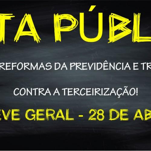 Nota Pública da Apropucc contra as reformas e a terceirização