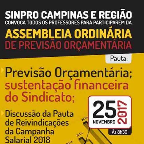Sinpro Campinas propõe discussão sobre sustentação financeira para 2018