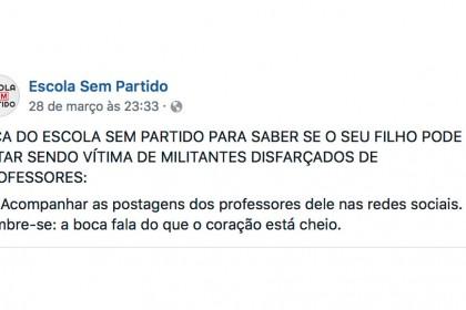 Escola Sem Partido prega perseguição a professores nas redes sociais