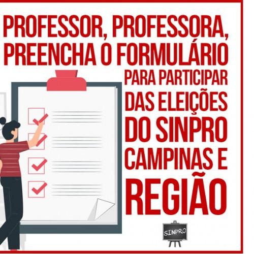 Professores aptos a votar devem preencher formulário para eleições do Sinpro