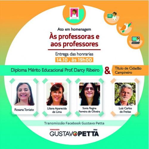 Câmara dos Vereadores de Campinas homenageará professores que se destacaram pelo compromisso com a educação