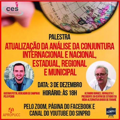 Palestra Virtual discutirá atualização da conjuntura pós eleições