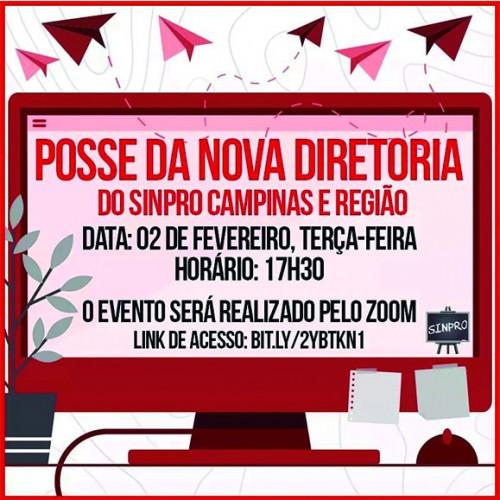 CONVITE: Posse Solene Virtual da nova diretoria do Sinpro Campinas