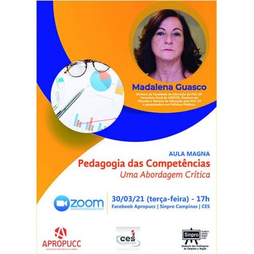 """Madalena Guasco ministra Aula Magna online """"Pedagogia das Competências: Uma Abordagem Crítica"""""""